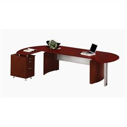 Mayline Medina Series L-Shaped Computer Desk in Mahogany