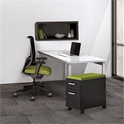 Mayline e5 Quickship Typical 1 Office Set in White and Raven
