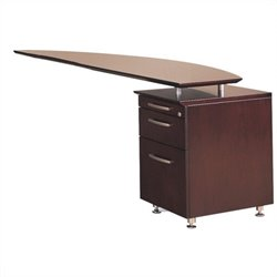 Mayline Napoli Curved Desk Right Return in Mahogany