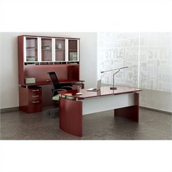 Mayline Napoli 7 Piece Computer Desk Set in Sierra Cherry