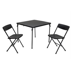 3 Piece Folding Table Set with Chairs in Black