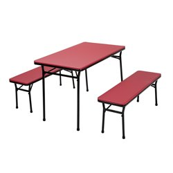 3 Piece Folding Table Set with Benches in Red and Black