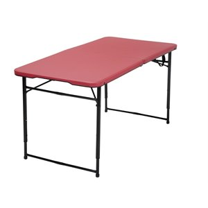 4' Height Adjustable Folding Table in Red