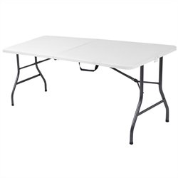 6' Metal Center Folding Table in White