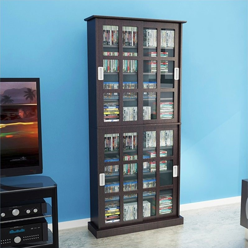 Set of 2 Media Cabinet and Rack in Espresso