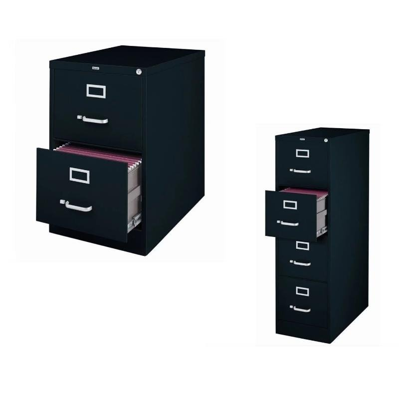 (Value Pack) 2 Drawer File Cabinet and 4 Drawer File Cabinet in Black