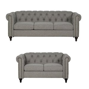 2 Piece Nailhead Trim Sofa and Loveseat Set in Gray