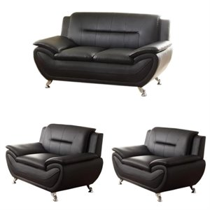 3 Piece Living Room Set with Loveseat and 2 Armchairs in Black