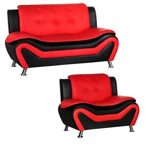 2 Piece Living Room Set with 2 Tone Loveseat and Armchair in Black/Red