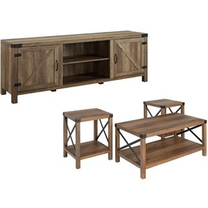 4 Piece Barn Door TV Stand Coffee Table and 2 End Table Set in Rustic Oak