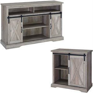 2 Piece Barn Door TV Stand Console and Buffet Cabinet Set in Rustic Gray Oak