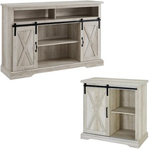 2 Piece Barn Door TV Stand Console and Buffet Cabinet Set in Rustic White Oak