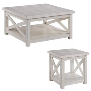 White Coffee Table Sets - End Table and Coffee Table with Storage Shelf for Living Room