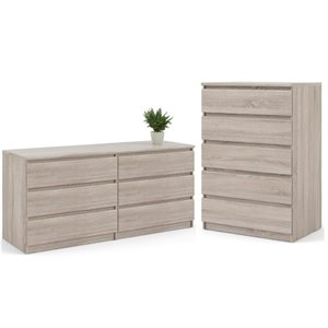 2PC Dresser Set with 1 Double Dresser and 1 Chest in Truffle