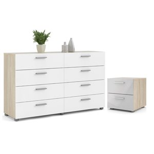 2PC Set with 1 Nightstand and 1 Double Dresser in Oak and White Gloss