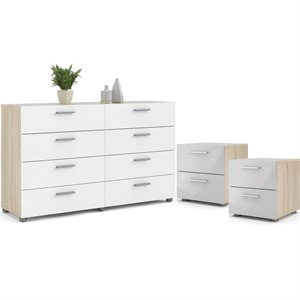 3PC Set with 2 Nightstands and 1 Double Dresser in Oak and White Gloss