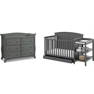 6-Drawer Double Dresser with Baby Crib and Changing Table Set in Slate Gray