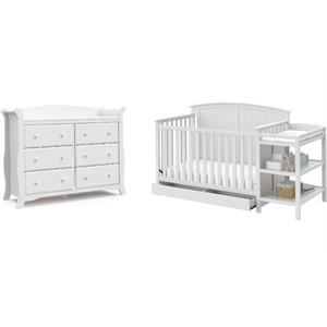 6-Drawer Double Dresser with Baby Crib and Changing Table Set in Pure White