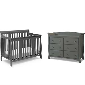 4-in-1 Convertible Baby Crib and 6-Drawer Double Dresser Set in Slate Gray