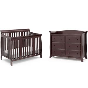 4-in-1 Convertible Baby Crib and 6-Drawer Double Dresser Set in Espresso