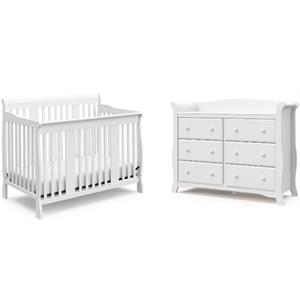 4-in-1 Convertible Baby Crib and 6-Drawer Double Dresser Set in Pure White