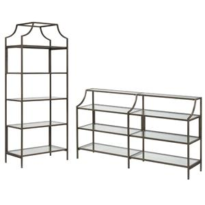 2 Piece Bookcase and Console Table Set in Bronze