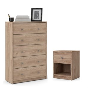 2 Piece Chest and Nightstand Bedroom Set in Jackson Hickory