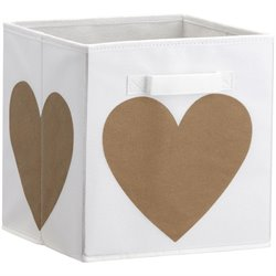 Little Seeds Heart Print Storage Bin in White and Gold
