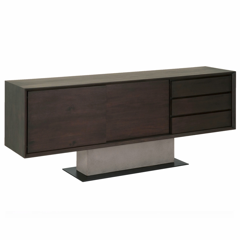Maklaine Contemporary Buffet in Espresso and Slate Gray