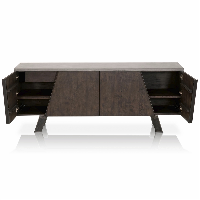 Maklaine Contemporary Buffet in Ash Gray and Distressed Black