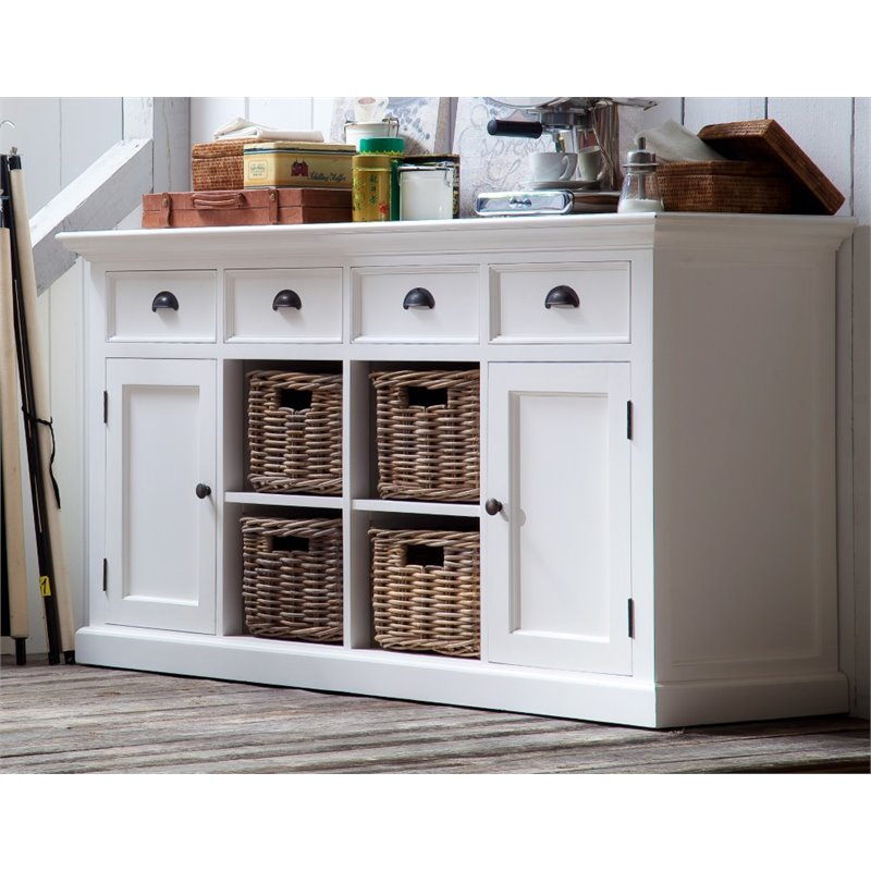 NovaSolo Halifax Buffet with 4 Baskets in Pure White