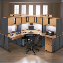 Bush Office Advantage Series Computer Desk with Hutch in Natural Cherry and Slate Finish Cubicle Set