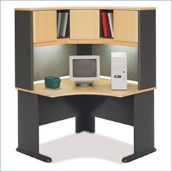 Bush Advantage Series Corner Desk with Hutch in Beech and Gray