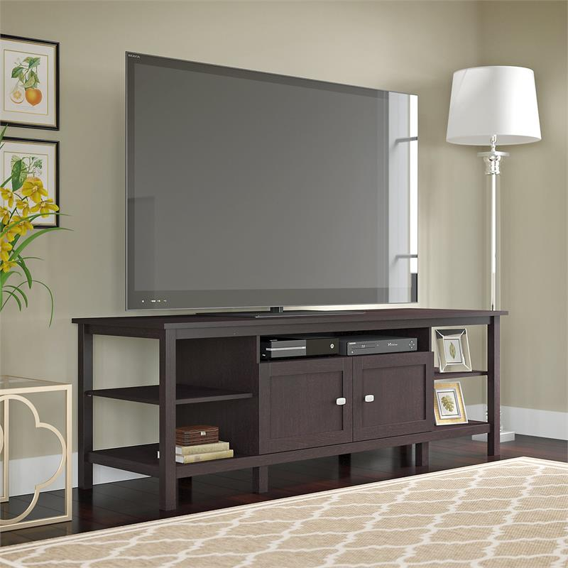 Bush Broadview TV Stand in Espresso Oak for TV's up to 75 inches