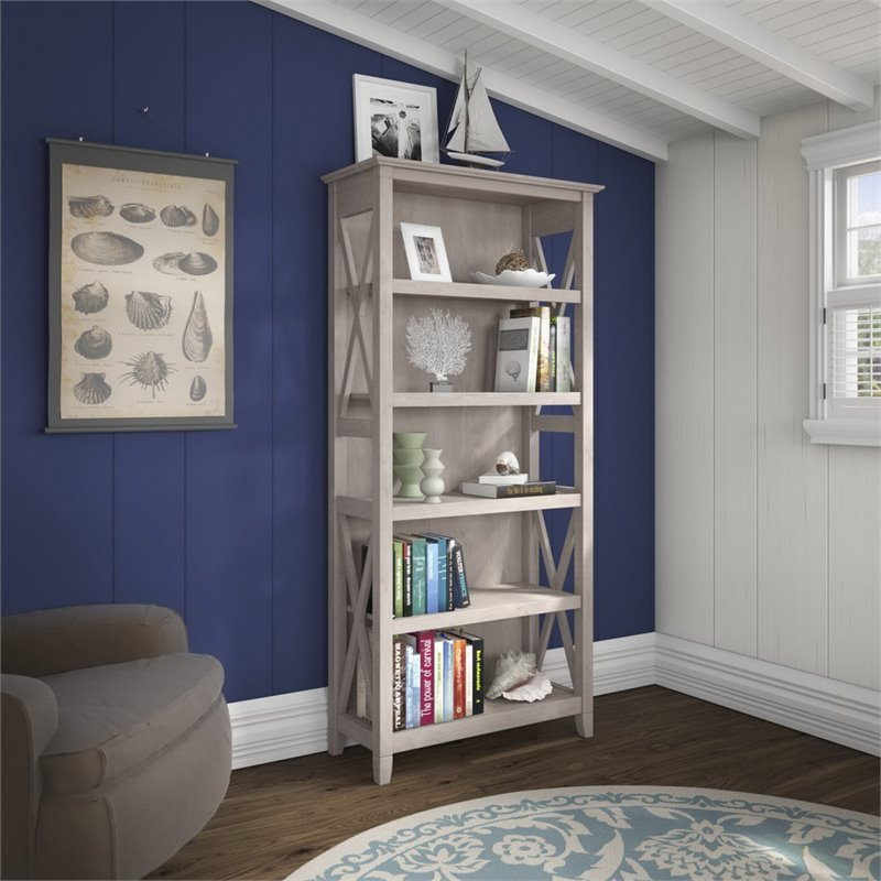 Bush Furniture Key West 5 Shelf Bookcase in Washed Gray