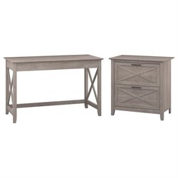 Bush Furniture Key West 2 Piece Office Set in Washed Gray