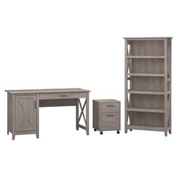 Bush Furniture Key West 3 Piece Office Set in Washed Gray