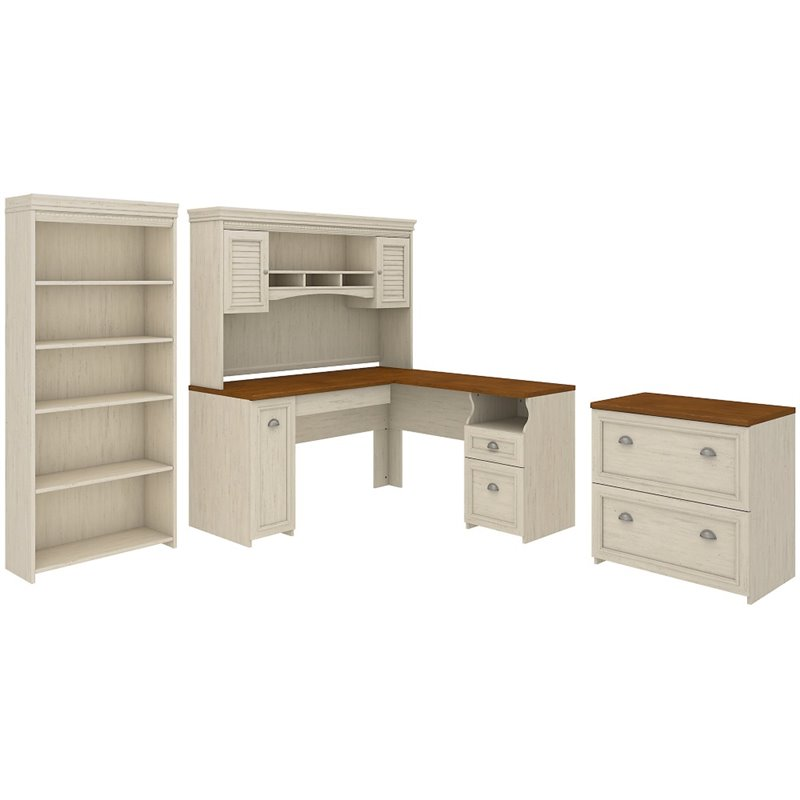 Bush Furniture Fairview L Shaped Desk With Hutch Office Suite In White