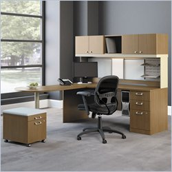 Bush Quantum Modern Cherry L Shape Desk with Mobile Pedestal with Mobile Pedestal with Mobile Pedestal
