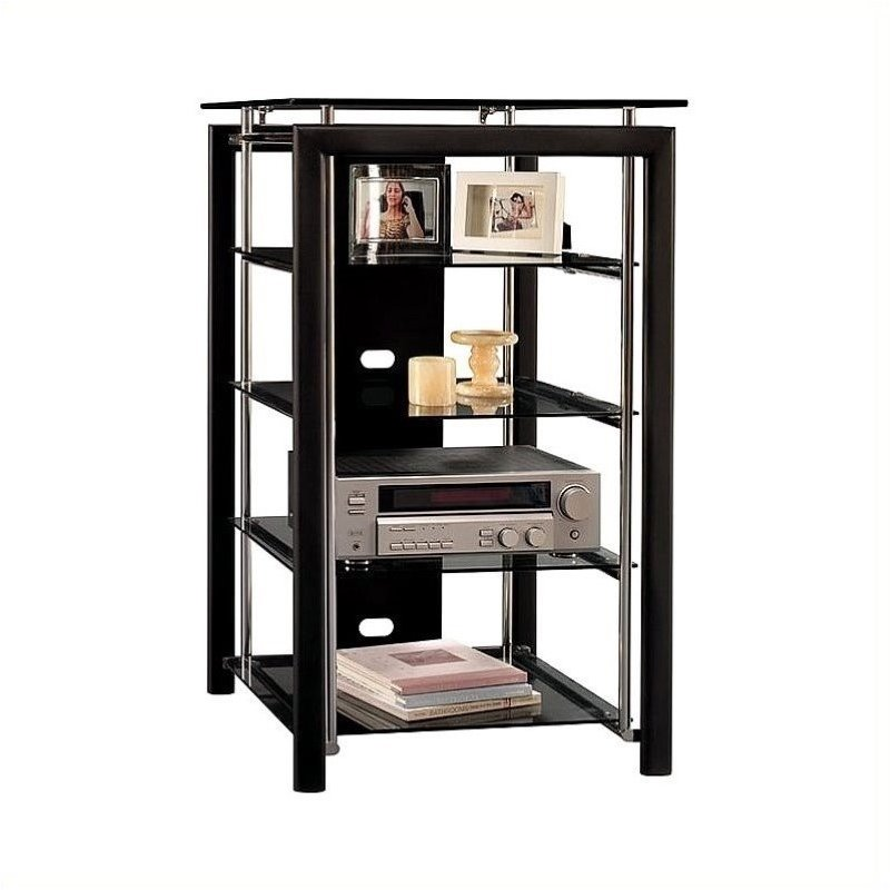 Bush Midnight Mist 3 Shelf Audio Rack in Black