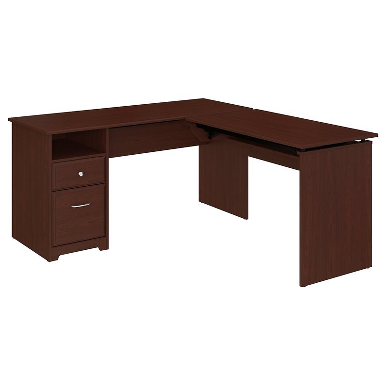 Bush Cabot 60W 3 Position L Shaped Sit to Stand Desk in Harvest Cherry
