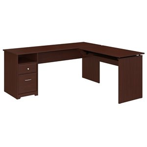 Bush Cabot 72W 3 Position L Shaped Sit to Stand Desk in Harvest Cherry