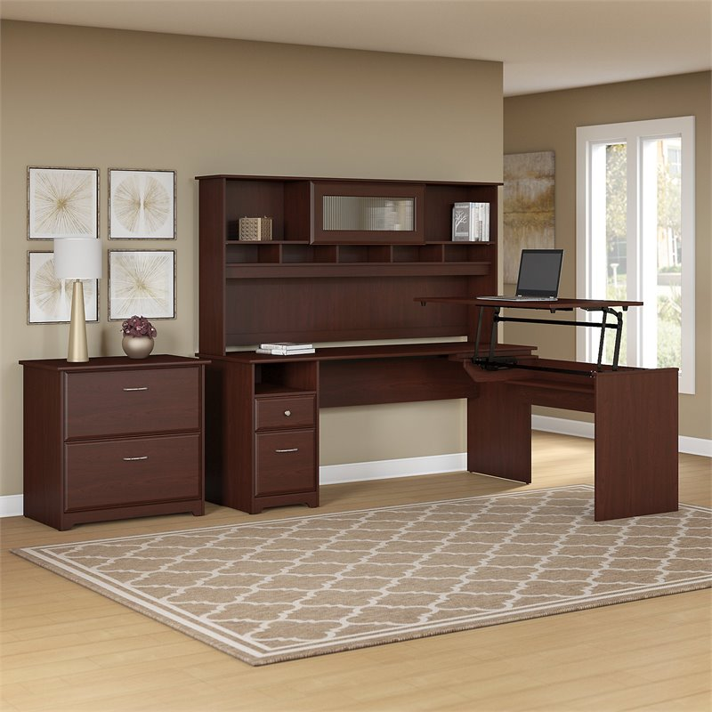 Bush Furniture Cabot 72W L Shaped Sit to Stand Desk with Hutch and File Cabinet