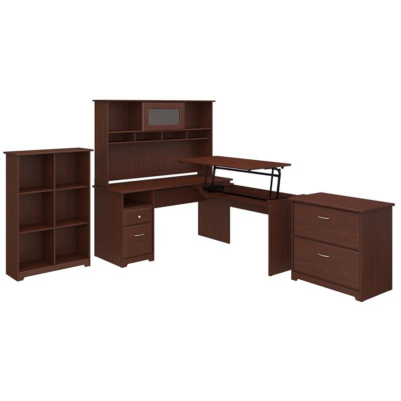 Cabot 60W 3 Position L Shaped Sit to Stand Desk Office Suite in Harvest Cherry