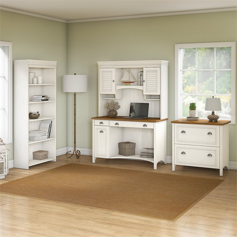 Bush Furniture Stanford Computer Desk 4 Piece Office Suite in White