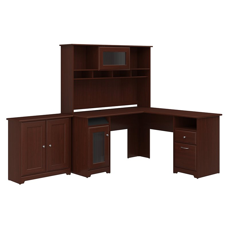 Cabot L Shaped Desk With Hutch And Small Storage Cabinet In Cherry