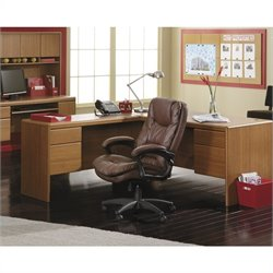 Bush Northfield Wood Return Desk in Dakota Oak Finish