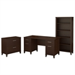 Bush Somerset 60W Office Desk with File Cabinet and Bookcase in Cherry