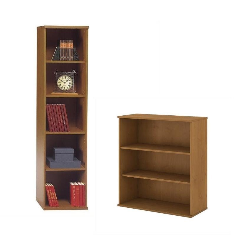 Series C 2 Piece Office Short and Tall Bookcase Set in Natural Cherry