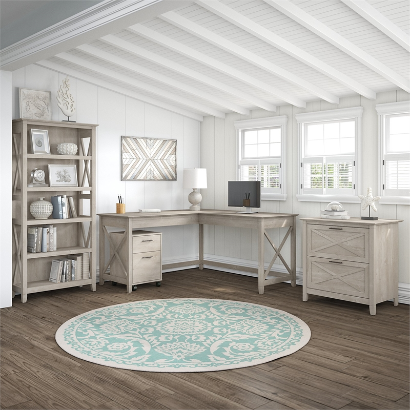 Key West 60W L Shaped Desk With Cabinets And Bookcase In